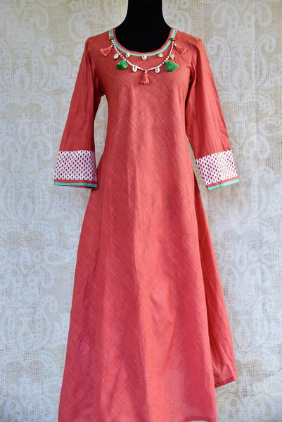 Buy pink cotton silk Indowestern dress online in USA. Pure Elegance clothing store brings a stylish range of Indian formal dresses for online shopping in USA. Shop online-full view