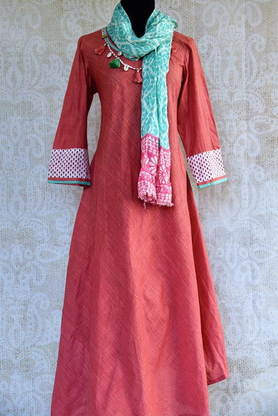 Buy pink cotton silk Indowestern dress online in USA. Pure Elegance clothing store brings a stylish range of Indian formal dresses for online shopping in USA. Shop online-full view with stole