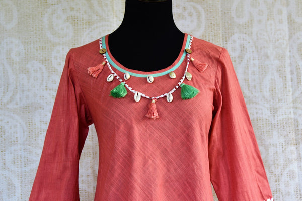 Buy pink cotton silk Indowestern dress online in USA. Pure Elegance clothing store brings a stylish range of Indian formal dresses for online shopping in USA. Shop online-front