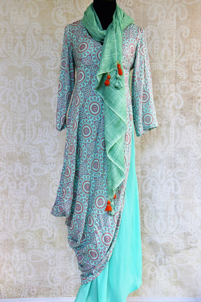 Buy green printed cotton silk Indowestern dress online in USA. Pure Elegance clothing store brings a exquisite range of Indian designer dresses for online shopping in USA. -full view