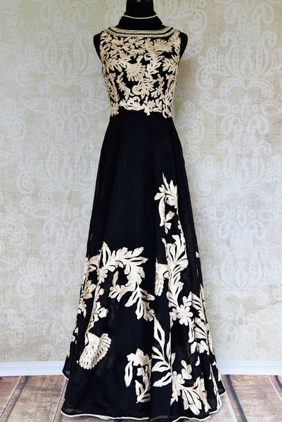 Buy black embroidered chanderi Anarkali suit online in USA. Pure Elegance fashion store brings exquisite collection of Indian designer suits in USA for parties and weddings.-full view