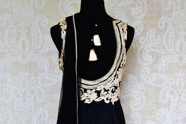 Buy black embroidered chanderi Anarkali suit online in USA. Pure Elegance fashion store brings exquisite collection of Indian designer suits in USA for parties and weddings.-back