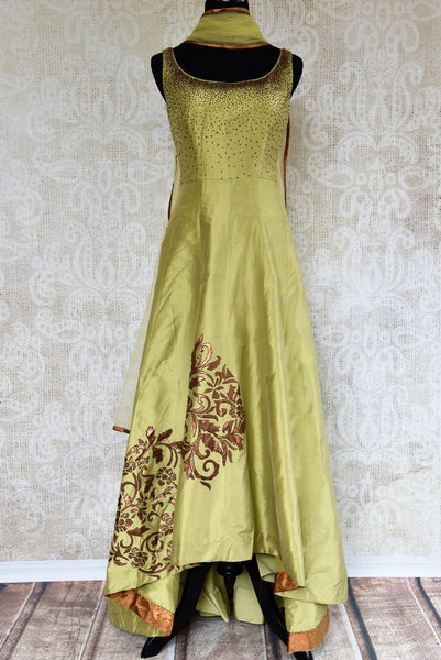 Buy green applique work silk suit with dupatta online in USA. Pure Elegance clothing store brings an exquisite range of Indian designer dresses in USA. Shop online.-full view