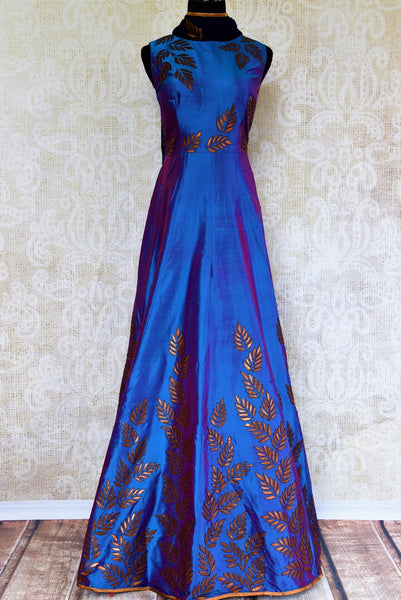 Buy blue silk applique floor length Anarkali suit online in USA. Pure Elegance fashion store brings exquisite collection of designer Indian Anarkali suits in USA.-full view