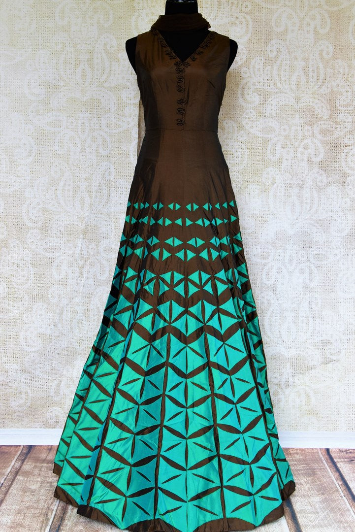 Buy brown and green silk applique Anarkali suit online in USA. Pure Elegance fashion store brings exquisite collection of Indian designer dresses suits in USA.-full view