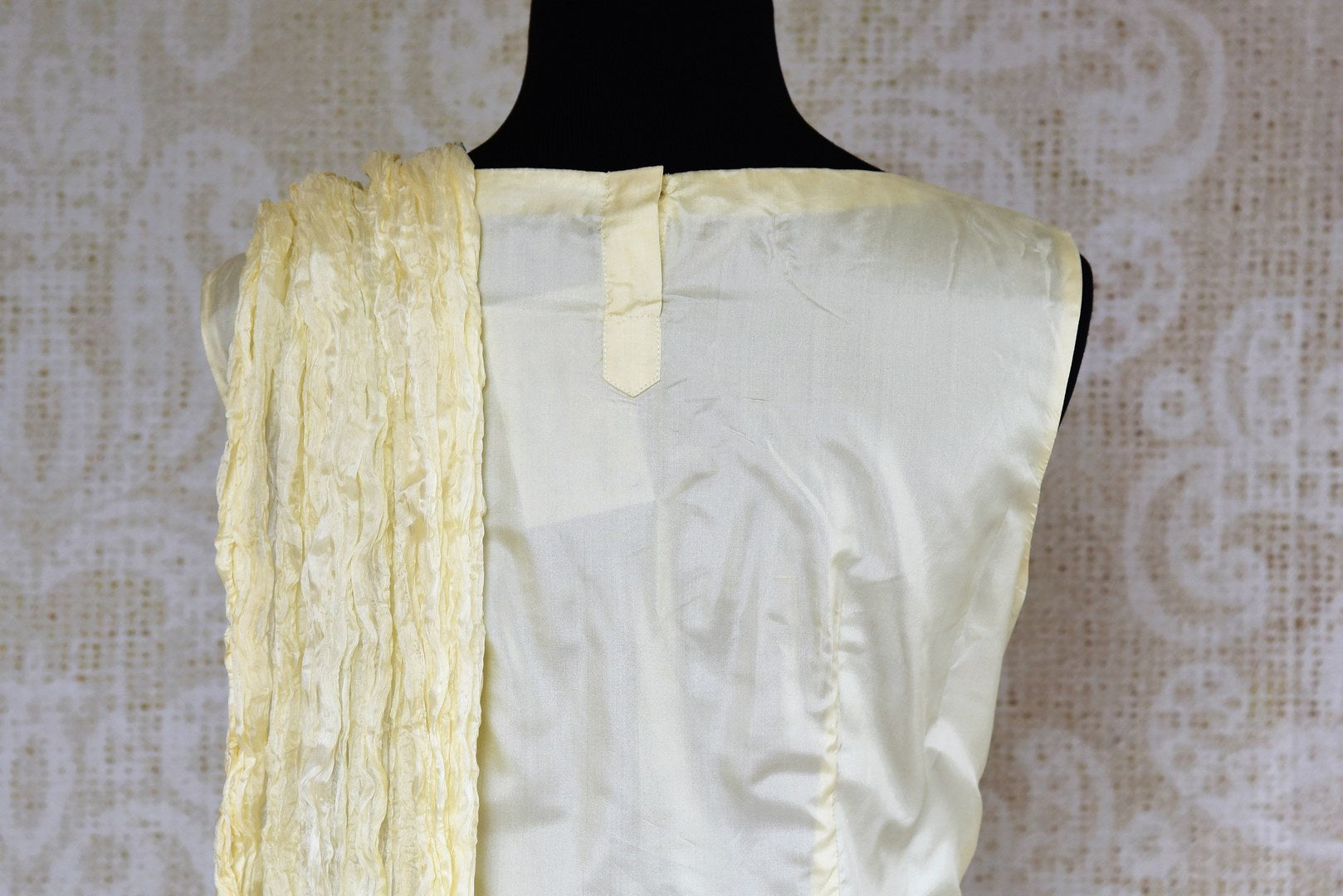 Buy online off white silk applique suit with palazzo and dupatta in usa