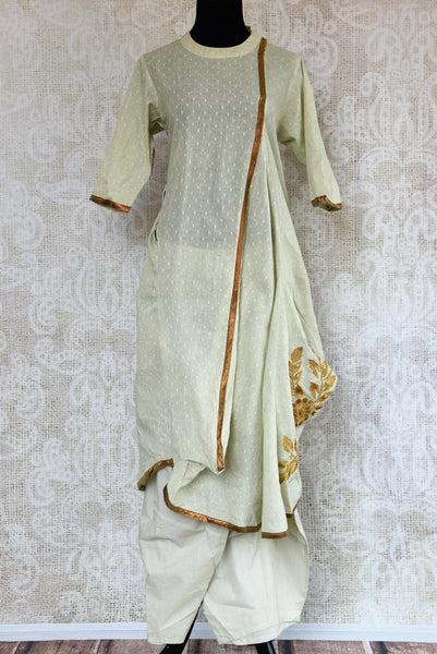 Buy light green chanderi salwar suit online in USA. Pure Elegance clothing store brings an exquisite range of Indian designer suits for online shopping in USA. -full view