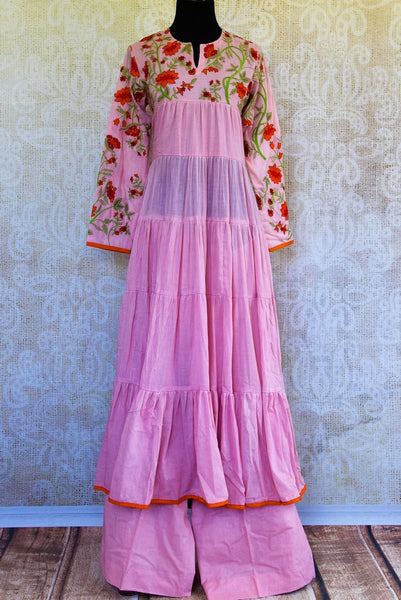 Buy pink embroidered linen suit with palazzo online in USA. Pure Elegance fashion store brings a stunning collection of Indian designer suits in USA for parties and weddings.-full view