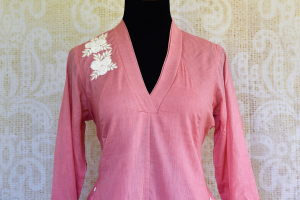 Buy pink embroidered chanderi suit with pant online in USA. Pure Elegance clothing store brings an exquisite range of Indian designer suits for online shopping in USA. -front
