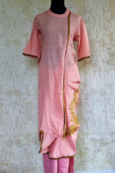 Buy soft pink embroidered chanderi suit with pant online in USA. Pure Elegance clothing store brings an exquisite range of Indian salwar suits for online shopping in USA. -full view