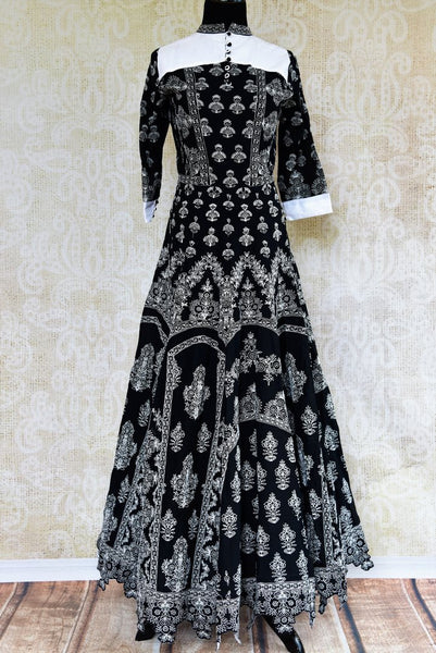 Buy black embroidered Anarkali suit online in USA. Pure Elegance fashion store brings a stunning collection of Indian designer Anarkali suits in USA for parties and weddings.-full view