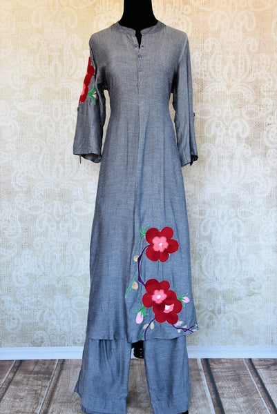 Buy grey silk embroidered kurta with pants online in USA. Pure Elegance fashion store brings an exclusive range of Indian designer suits in USA for parties. Shop online.-full view