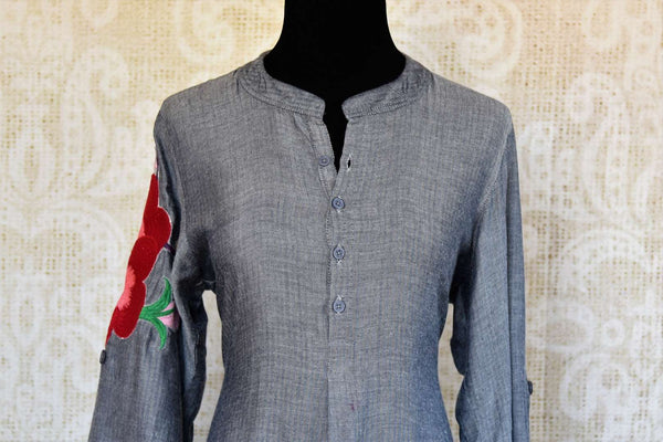 Buy grey silk embroidered kurta with pants online in USA. Pure Elegance fashion store brings an exclusive range of Indian designer suits in USA for parties. Shop online.-front