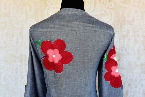 Buy grey silk embroidered kurta with pants online in USA. Pure Elegance fashion store brings an exclusive range of Indian designer suits in USA for parties. Shop online.-back