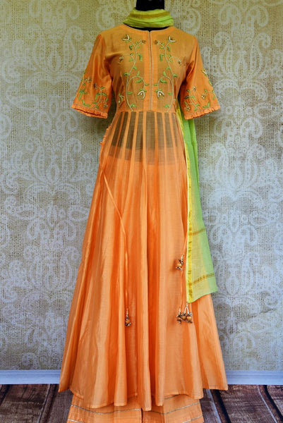 Buy peach embroidered chanderi suit online in USA. Pure Elegance clothing store brings an exquisite collection of Indian designer suits for parties and weddings.-full view