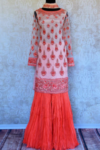 Buy peach embroidered net georgette sharara online in USA. Pure Elegance clothing store brings an exquisite range of Indian designer wedding dresses in USA. Shop online.-full view