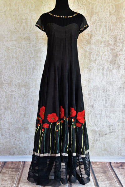 Buy black embroidered silk and net dress online in USA. Pure Elegance clothing store brings an exquisite range of Indian designer formal dresses online in USA. Shop online-full view