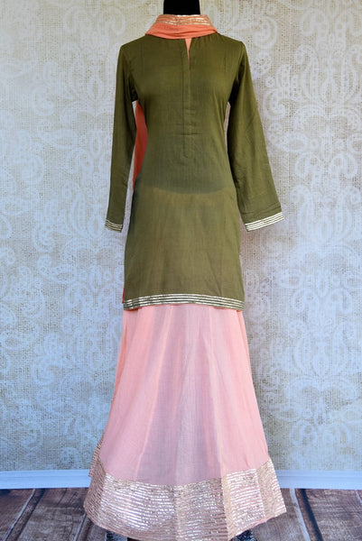 Buy green and pink embroidered kurta and skirt with dupatta online in USA. Pure Elegance clothing store brings an exquisite range of Indian designer dresses in USA. -full view