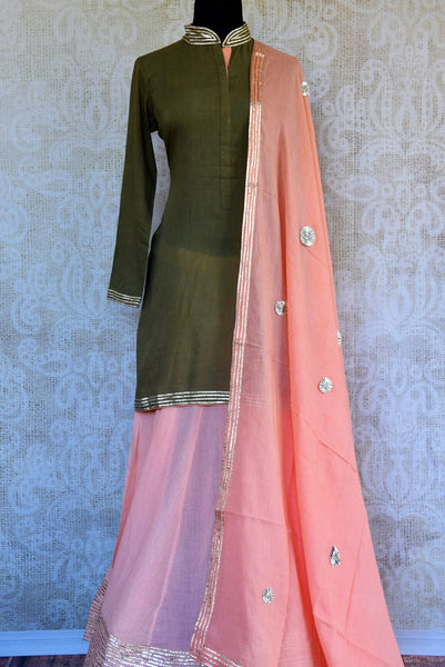 Buy green and pink embroidered kurta and skirt with dupatta online in USA. Pure Elegance clothing store brings an exquisite range of Indian designer dresses in USA. -full view 2