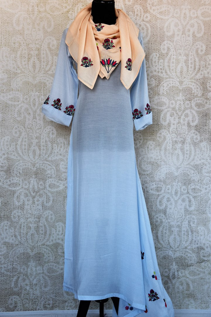 Buy sky blue embroidered chanderi dress online in USA. Pure Elegance fashion store brings an exquisite range of Indian designer dresses in USA for women. Shop now-full view