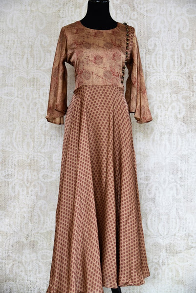Buy brown printed silk Indowestern dress online in USA. Pure Elegance fashion store brings an exquisite range of Indian designer dresses in USA for parties and special occasions. -full view