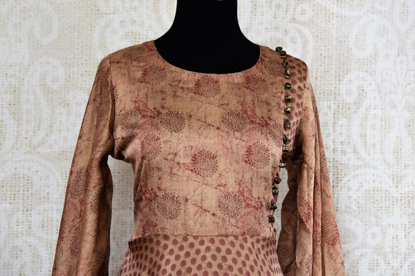 Buy brown printed silk Indowestern dress online in USA. Pure Elegance fashion store brings an exquisite range of Indian designer dresses in USA for parties and special occasions. -top