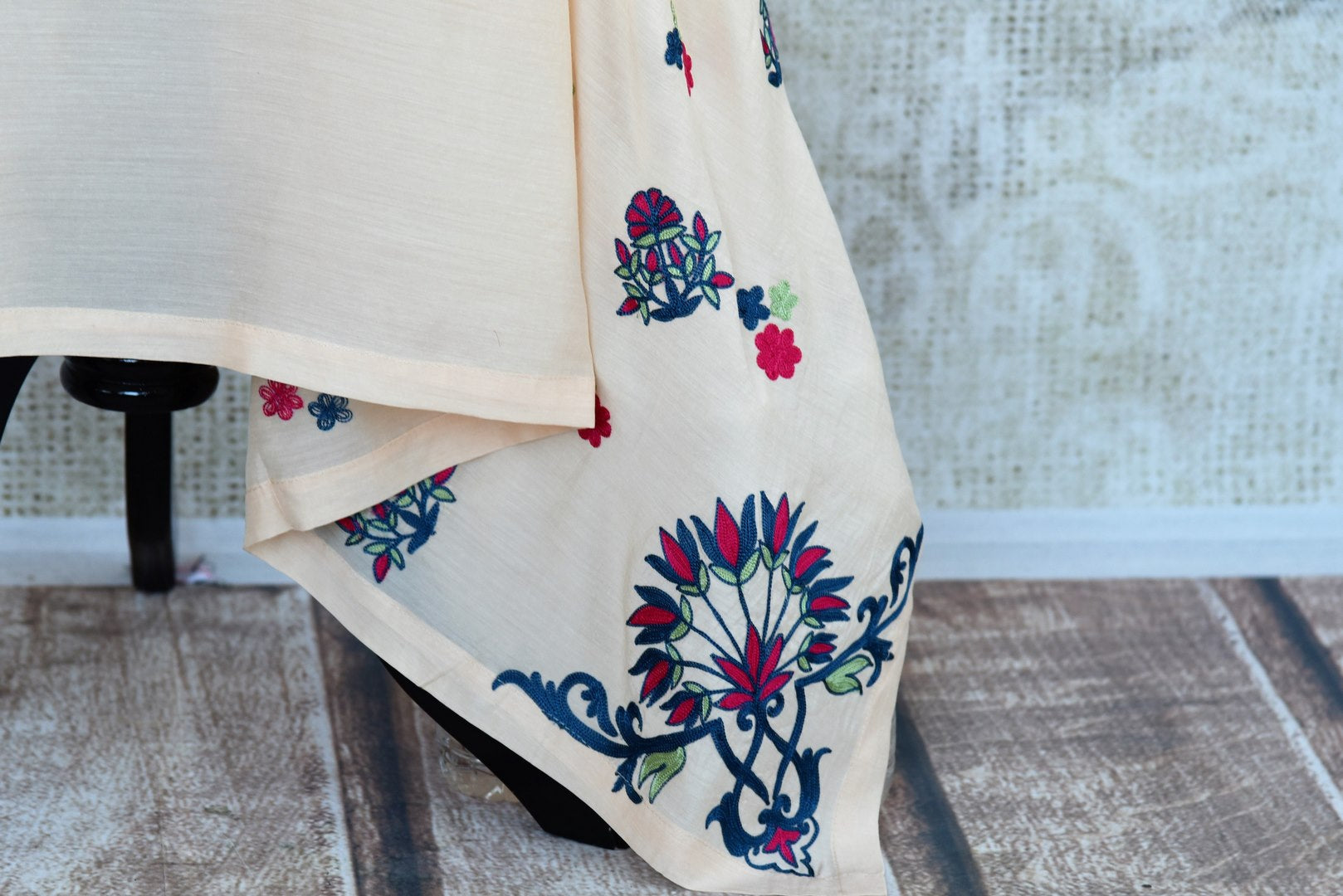 Buy peach embroidered chanderi silk dress online in USA. Pure Elegance fashion store brings an exquisite range of Indian party dresses in USA for women. Shop now.-closeup