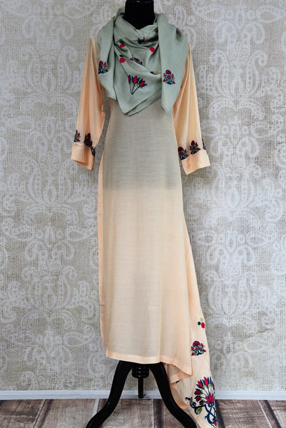 Buy peach embroidered chanderi silk dress online in USA with grey stole . Pure Elegance fashion store brings an exquisite range of Indian dresses in USA. Shop now.-full view