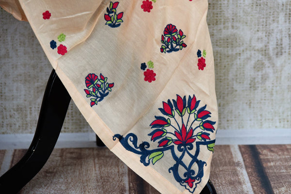 Buy peach embroidered chanderi silk dress online in USA with grey stole . Pure Elegance fashion store brings an exquisite range of Indian dresses in USA. Shop now.-bottom