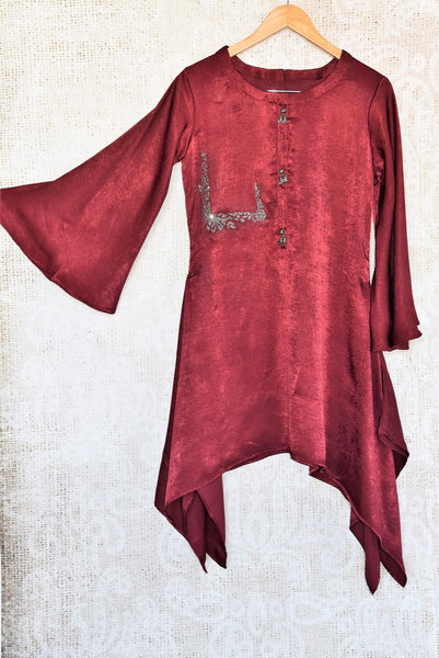 Buy maroon satin silk kurta online in USA. Make a dazzling fashion statement with Indian dresses at Pure Elegance Indian clothing store in USA for women. Shop now.-full view