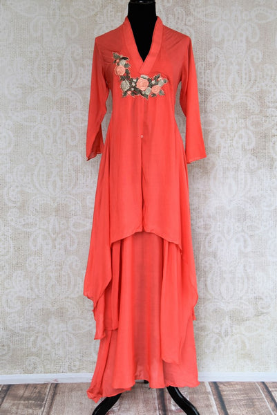 Buy coral embroidered cotton silk dress online in USA. Pure Elegance fashion store brings an exquisite range of Indian designer dresses in USA. Shop online.-full view