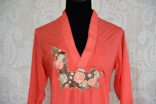 Buy coral embroidered cotton silk dress online in USA. Pure Elegance fashion store brings an exquisite range of Indian designer dresses in USA. Shop online.-top