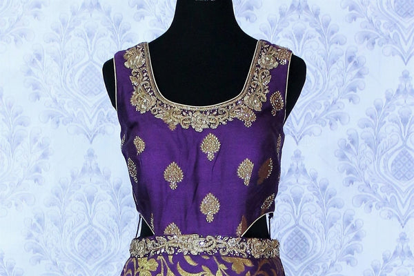 Alluring purple embroidered Banarasi dress buy online in USA. The Indowestern dress is perfect for a unique Indian look at special occasions. Buy more such traditional Indian designer dresses in USA at Pure Elegance, visit our exclusive clothing store in USA or shop online.-neckline