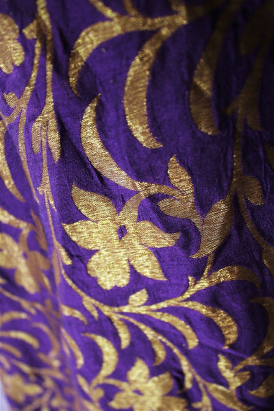 Alluring purple embroidered Banarasi dress buy online in USA. The Indowestern dress is perfect for a unique Indian look at special occasions. Buy more such traditional Indian designer dresses in USA at Pure Elegance, visit our exclusive clothing store in USA or shop online.-closeup