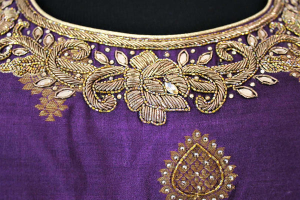 Alluring purple embroidered Banarasi dress buy online in USA. The Indowestern dress is perfect for a unique Indian look at special occasions. Buy more such traditional Indian designer dresses in USA at Pure Elegance, visit our exclusive clothing store in USA or shop online.-neckline details