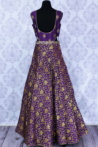 Alluring purple embroidered Banarasi dress buy online in USA. The Indowestern dress is perfect for a unique Indian look at special occasions. Buy more such traditional Indian designer dresses in USA at Pure Elegance, visit our exclusive clothing store in USA or shop online.-back