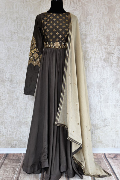 Buy elegant embroidered dark grey chanderi floor length Anarkali online in USA. The attire is beautifully adorned with zardozi work which makes it so exquisite. Get floored by an exclusive collection of Indian designer Anarkali suits in USA available at Pure Elegance clothing store or shop online.-full view