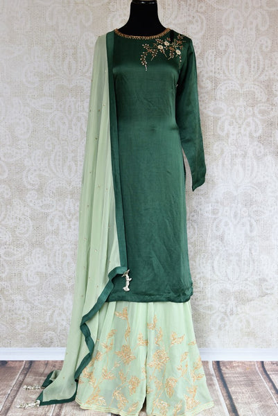 Buy beautiful embroidered green chanderi kurta with palazzo online in USA. The attire is beautifully adorned with kundan work which makes it so exquisite. Get floored by an exclusive collection of Indian formal dresses in USA available at Pure Elegance clothing store or shop online.-full view