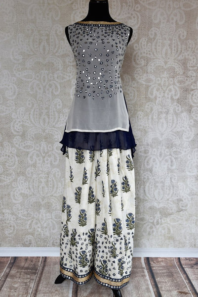 Buy white and blue embroidered georgette kurta with palazzo online in USA. The Indo-western outfit is a stylish and unique choice for special occasions. Get floored by an exclusive collection of Indian party dresses in USA available at Pure Elegance clothing store or shop online.-full view