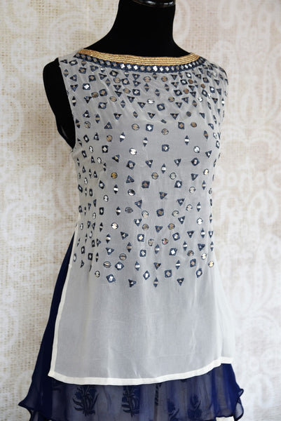 Buy white and blue embroidered georgette kurta with palazzo online in USA. The Indo-western outfit is a stylish and unique choice for special occasions. Get floored by an exclusive collection of Indian party dresses in USA available at Pure Elegance clothing store or shop online.-side view