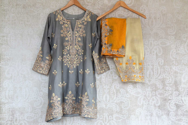 Buy grey embroidered chanderi sharara with dupatta online in USA. The traditional outfit is a beautiful choice for special occasions. Get floored by an exclusive collection of Indian traditional dresses in USA available at Pure Elegance clothing store or shop online.-full view