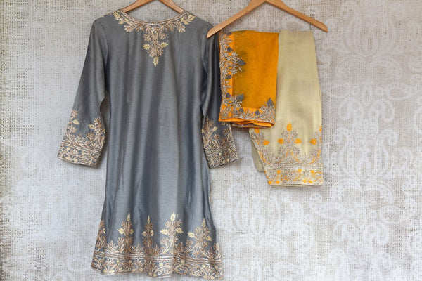 Buy grey embroidered chanderi sharara with dupatta online in USA. The traditional outfit is a beautiful choice for special occasions. Get floored by an exclusive collection of Indian traditional dresses in USA available at Pure Elegance clothing store or shop online.-back