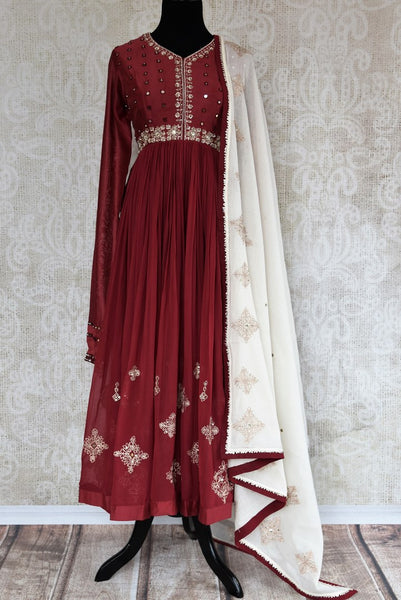 Buy maroon embroidered chanderi suit with dupatta online in USA. The traditional outfit is a stunning choice for parties and special occasions. Get floored by an exclusive collection of Indian designer Anarkali suits in USA available at Pure Elegance clothing store or shop online.-full view