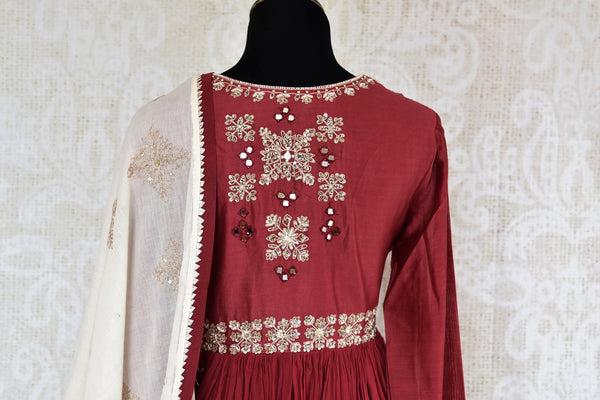 Buy maroon embroidered chanderi suit with dupatta online in USA. The traditional outfit is a stunning choice for parties and special occasions. Get floored by an exclusive collection of Indian designer Anarkali suits in USA available at Pure Elegance clothing store or shop online.-back