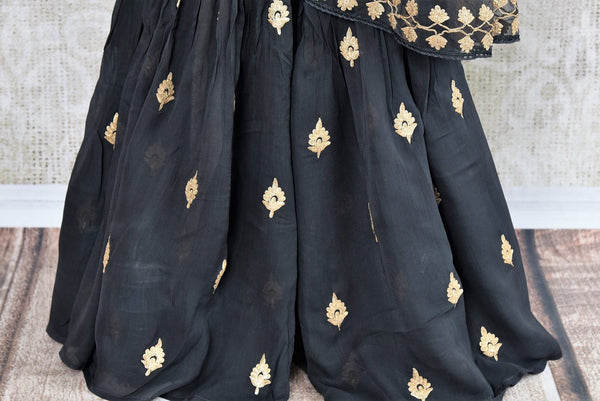 Buy dark grey embroidered georgette sharara suit with dupatta online in USA. The traditional outfit is a stunning choice for parties and special occasions. Get floored by an exclusive collection of Indian designer suits in USA available at Pure Elegance clothing store or shop online.-bottom