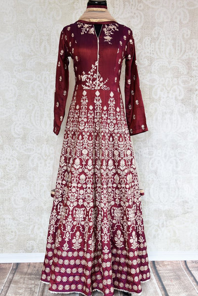 Buy maroon embroidered floor length Anarkali suit online in USA. The traditional outfit is a stunning choice for weddings and parties. Get floored by an exquisite collection of Indian wedding dresses in USA available at Pure Elegance clothing store or shop online-full view