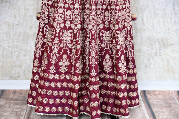 Buy maroon embroidered floor length Anarkali suit online in USA. The traditional outfit is a stunning choice for weddings and parties. Get floored by an exquisite collection of Indian wedding dresses in USA available at Pure Elegance clothing store or shop online.-panel