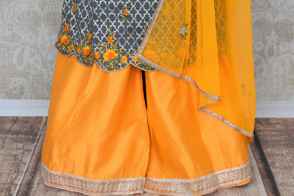 Buy grey and yellow embroidered sharara suit with dupatta online in USA. Add brilliance to your Indian ethnic look with an exquisite range of designer dresses, suits available at Pure Elegance exclusive clothing store in USA or shop online.-bottom