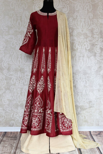 Buy red embroidered silk suit with palazzo online in USA. The traditional outfit is a stunning choice for weddings and parties. Get floored by an exquisite collection of Indian designer suits in USA available at Pure Elegance clothing store or shop online.-full view