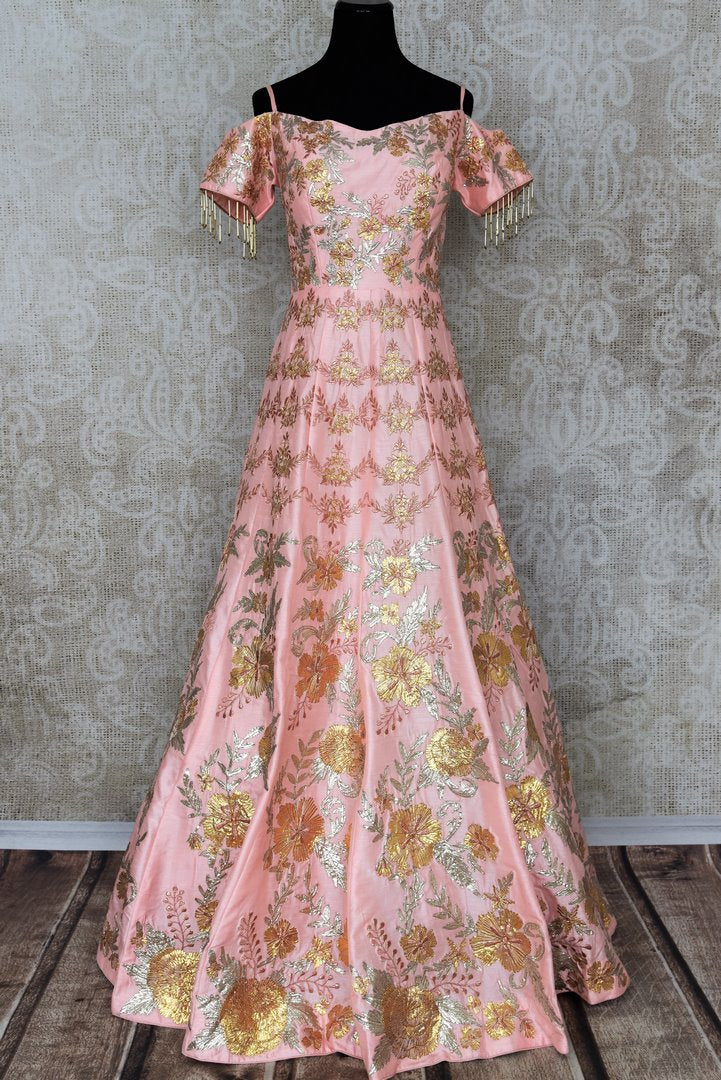 Buy pastel pink gota patti embroidery designer gown dress online in USA. Add brilliance to your Indian ethnic look with an exquisite range of designer dresses, suits available at Pure Elegance exclusive clothing store in USA or shop online.-full view